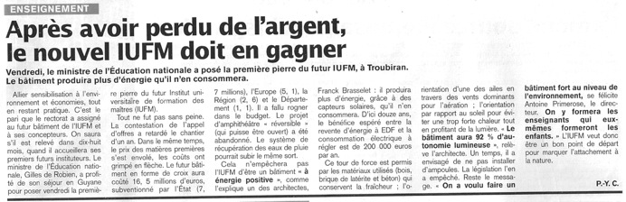 Article france-guyane IUFM
