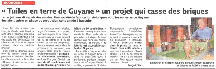 Scan article france-guyane briques Gardel